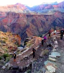 The group winding down the South Rim