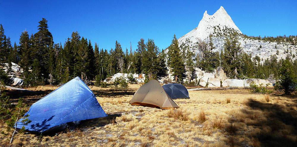 Camping next to Upper Cathedral Lake in Yosemite National Park