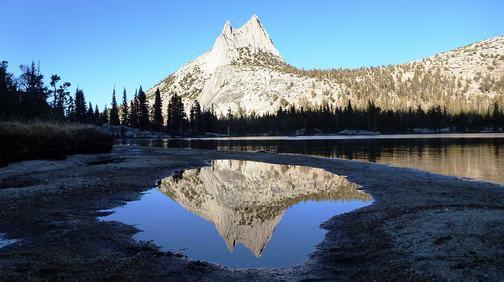 Sunset over Upper Cathedral Lake in Yosemite National Park