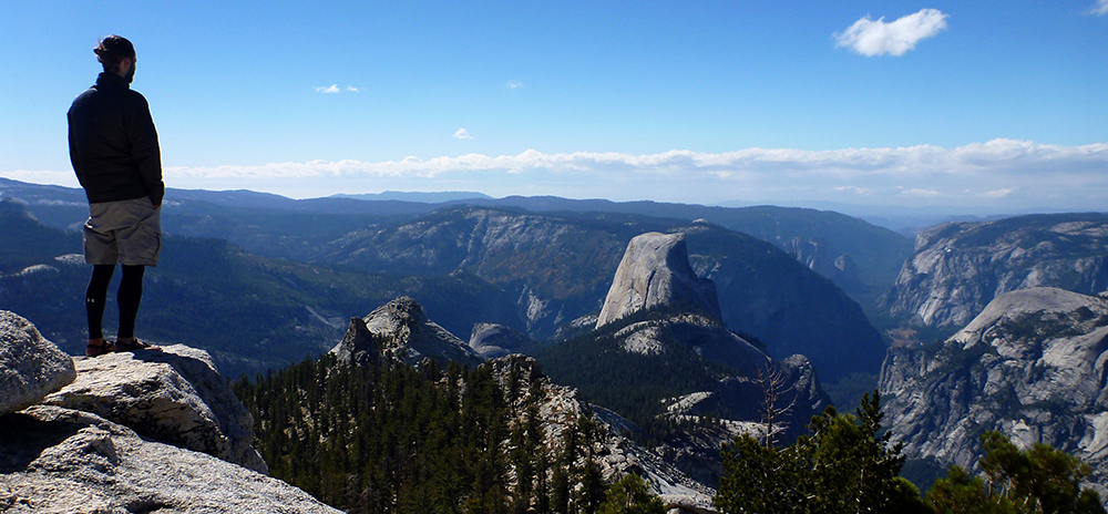 Looking out over Yosemite Valley from Clouds Rest