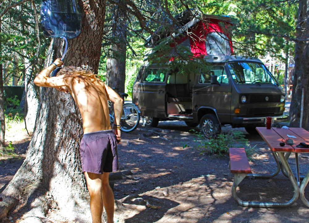 Chris Tarzan Clemens - VanLife Shower Glacier NP